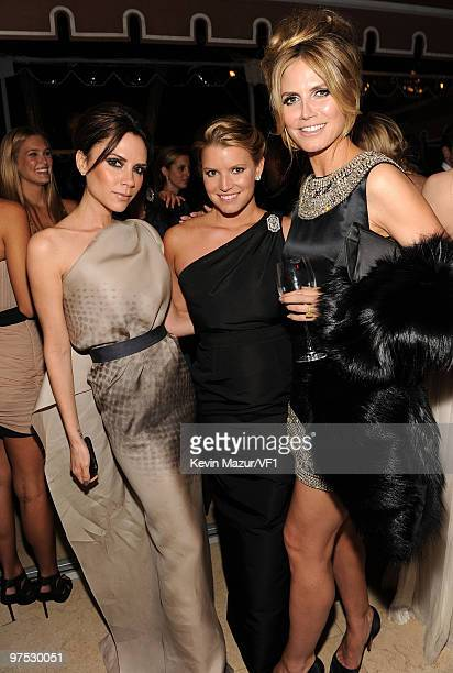 WEST HOLLYWOOD CA MARCH 07 *EXCLUSIVE* Victoria Beckham Jessica Simpson and Heidi Klum attends the 2010 Vanity Fair Oscar Party hosted by Graydon...