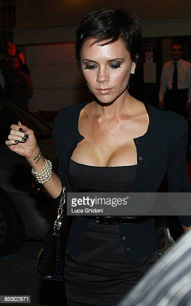 Victoria Beckham leaves Da Giacomo restaurant on March 8 2009 in Milan Italy