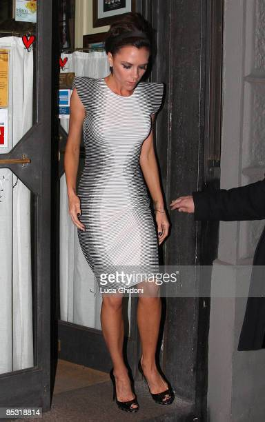 Victoria Beckham leaves La Briciola restaurant on March 9 2009 in Milan Italy