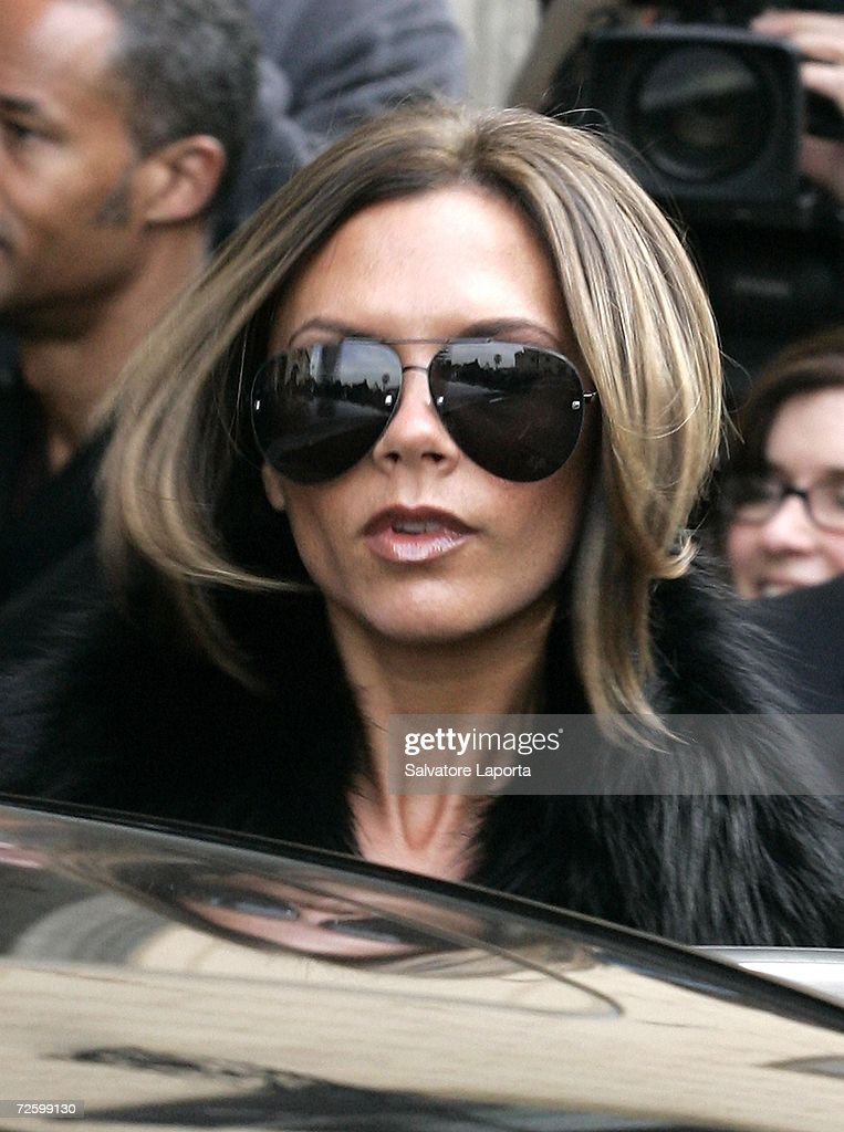 Victoria Beckham leaves the Hassler Hotel for shopping, as part of Katie Holmes and Tom Cruise wedding at Castello Odescalchi on November 18, 2006 in Rome, Italy.