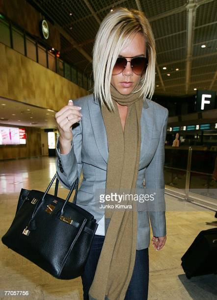 Victoria Beckham leaves the New Tokyo International Airport on September 27 2007 in Narita Japan She is on her way back to London following Ted...