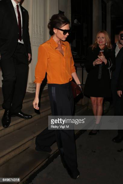 Victoria Beckham leaving her shop in Dover Street after Facebook LIVE session in recognition of International Women's Day on March 8 2017 in London...