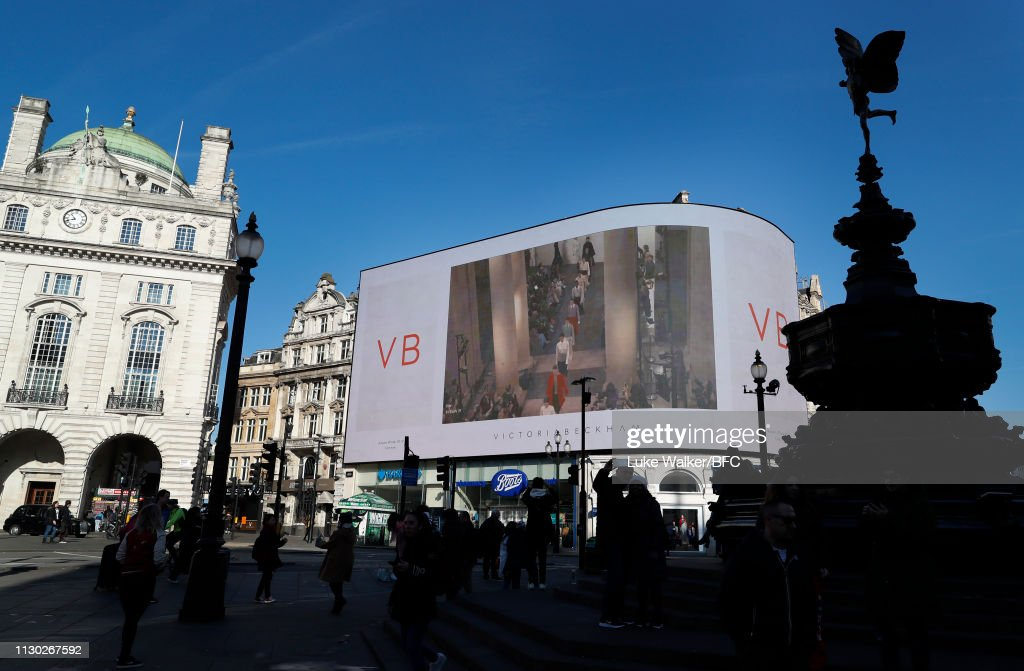 GBR: Victoria Beckham x YouTube Livestream At Piccadilly Circus