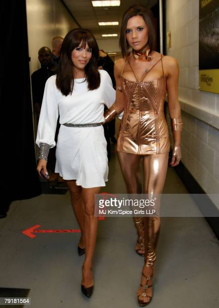 Victoria Beckham of the Spice Girls and Eva Longoria backstage during The Return of Spice Girls World Tour at the MEN Arena on January 23 2008 in...