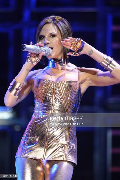 Victoria Beckham of the Spice Girls performs during rehearsal for The Return of The Spice Girls World Tour at GM Place on December 1 2007 in...