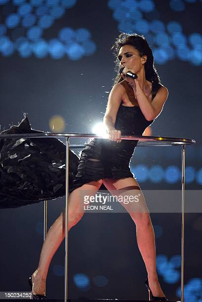 Victoria Beckham of the Spice Girls performs during the closing ceremony of the 2012 London Olympic Games at the Olympic stadium in London on August...