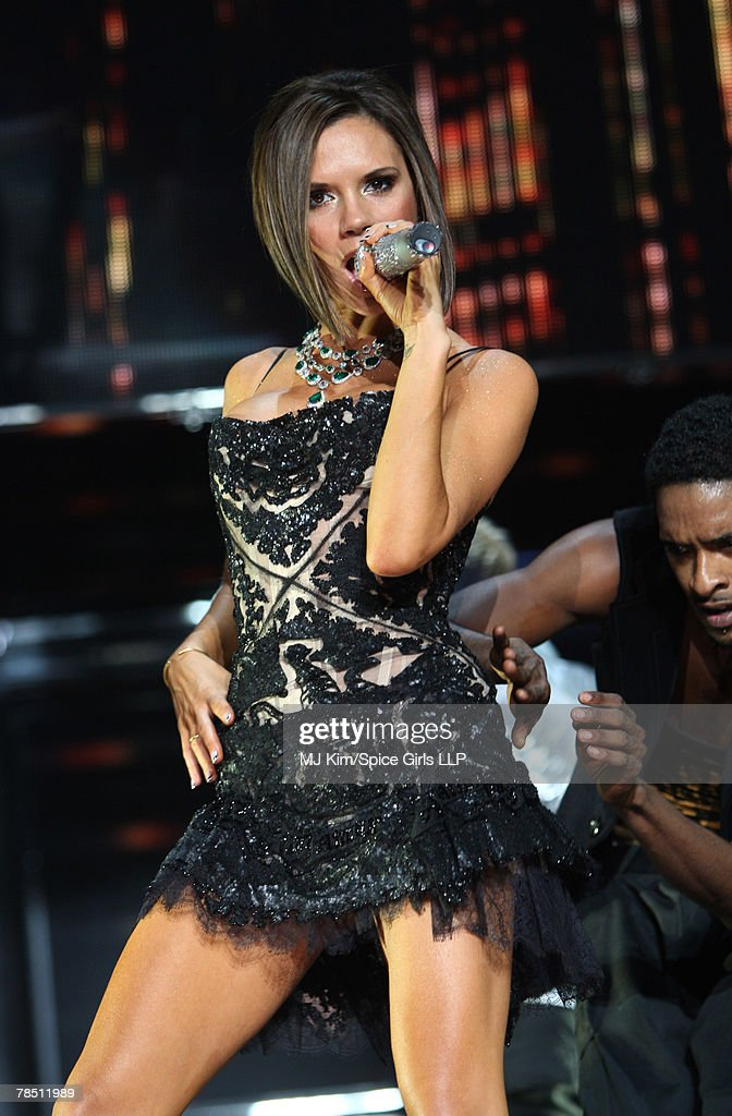 Victoria Beckham of the Spice Girls performs on stage during The Return of Spice Girls World Tour at Staples Center on December 5, 2007 in Los Angeles, California.