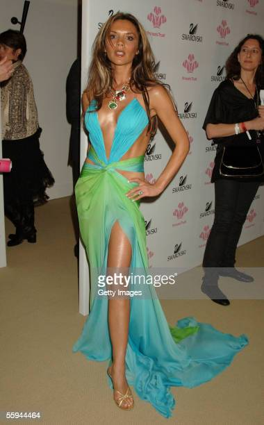 Victoria Beckham poses for a picture backstage at the Swarovski Fashion Rocks for The Prince's Trust event at the Grimaldi Forum October 17 2005 in...