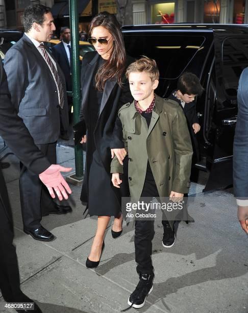 Victoria Beckham Romeo Beckham and Cruz Beckham are seen in Soho on February 9 2014 in New York City