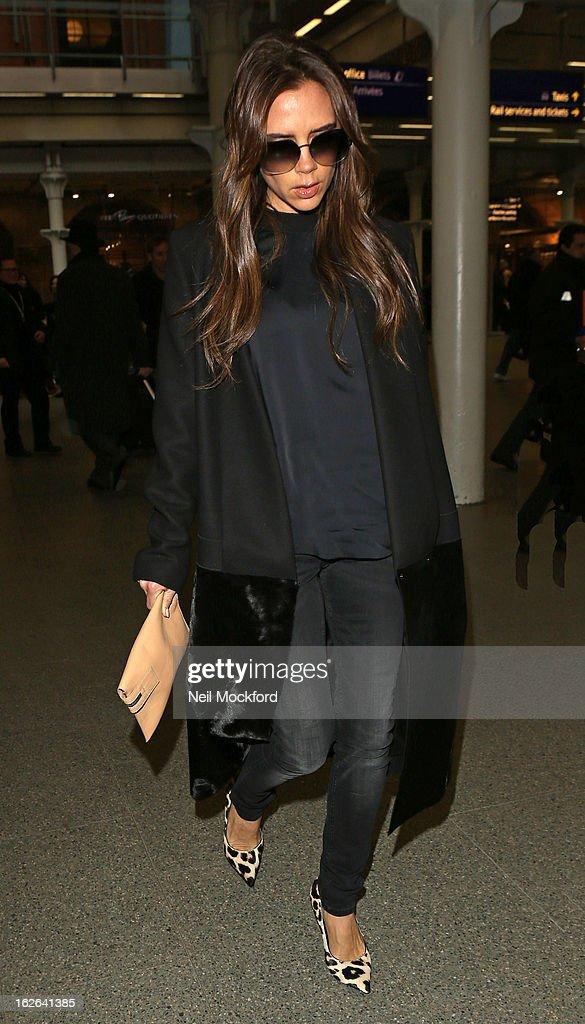 Victoria Beckham seen arriving at King's Cross St Pancras Eurostar terminal on February 25, 2013 in London, England.