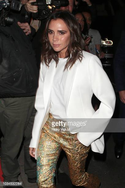Victoria Beckham seen attending s/s 2019 Vogue X Victoria Beckham party at Mark's Club during London Fashion Week September 2018 on September 16 2018...
