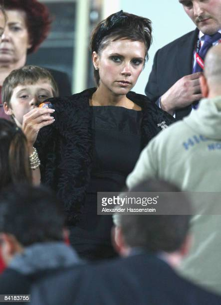Victoria Beckham seen during the Dubai Football Challenge match between AC Milan and Hamburger SV at the Emirates Sevens Stadium on January 6 2009 in...