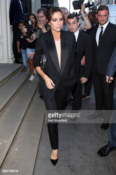 Victoria Beckham seen leaving her Dover St Store after a cocktail evening to celebrate her 'Old Master Paintings' Sotheby's collaboration on June 25...