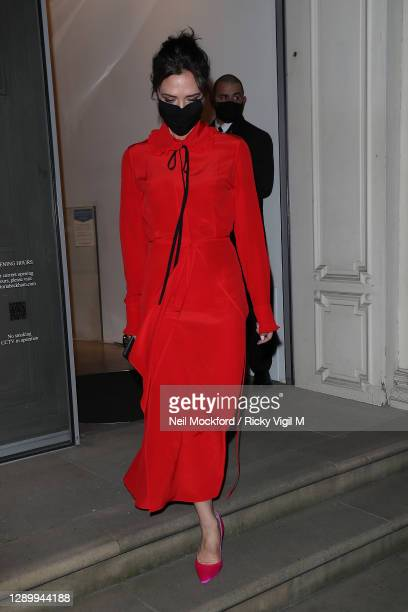 Victoria Beckham seen leaving her Dover St store on December 07, 2020 in London, England.
