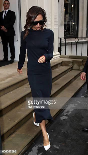 Victoria Beckham seen leaving her Dover st store sighting on September 16, 2016 in London, England.