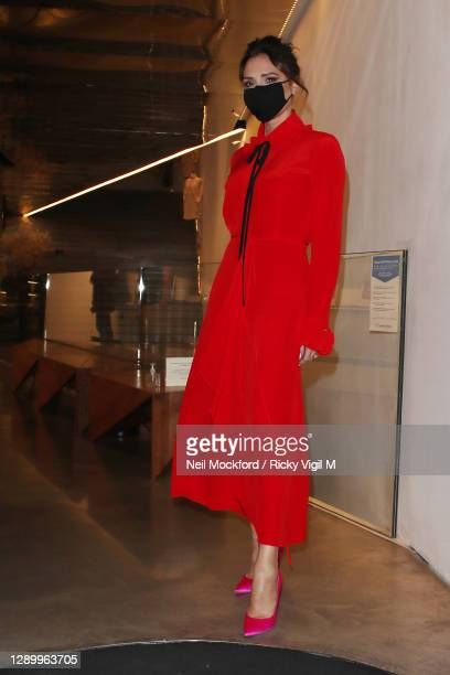 Victoria Beckham seen leaving her Dover Street store on December 07, 2020 in London, England.