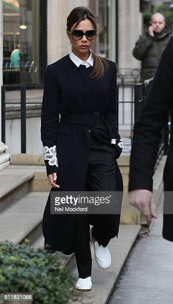 Victoria Beckham seen leaving her store on Dover St on February 23 2016 in London England