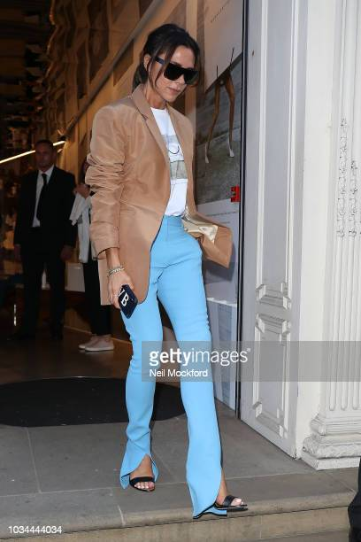 Victoria Beckham seen leaving her VB Dover St store during London Fashion Week September 2018 on September 16 2018 in London England