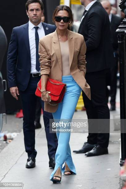 Victoria Beckham seen leaving the Victoria Beckham show at Galerie Thaddaeus Ropac at heading to her VB Dover St store during London Fashion Week...