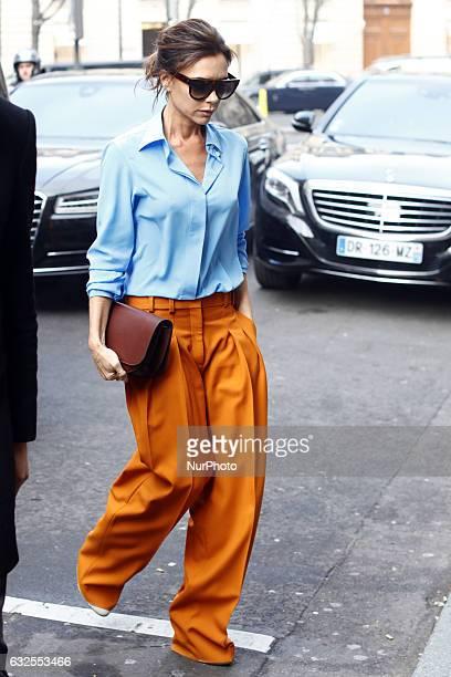 Victoria Beckham seen walking during the Paris fashion week On January 23 2017