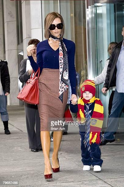 Victoria Beckham shops at FAO Schwartz with her son Cruz Beckham on February 9 in New York City, New York.