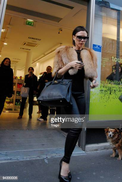 Victoria Beckham sighting while shopping at daily'Monop on December 12 2009 in Paris France