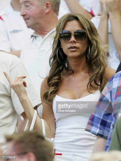 Victoria Beckham the wife of England Captain David Beckham attends the FIFA World Cup Germany 2006 Group B match between England and Paraguay at the...
