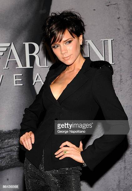 Victoria Beckham visits Macy's Herald Square to reveal the new Emporio Armani underwear campaign on May 6, 2009 in New York City.