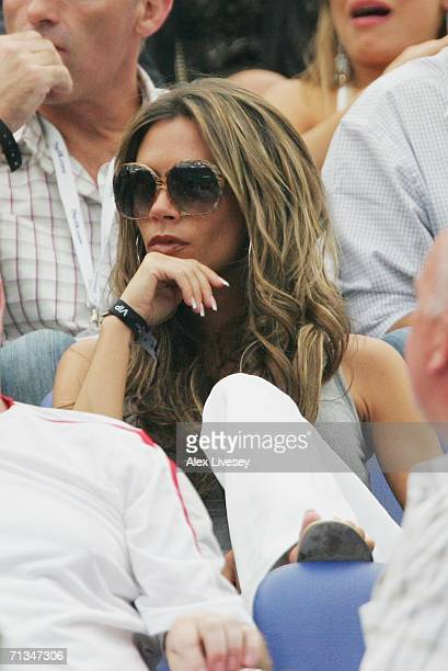 Victoria Beckham waits for the action to start prior to the FIFA World Cup Germany 2006 Quarterfinal match between England and Portugal played at the...