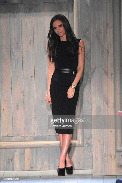 Victoria Beckham walks the runway at the Victoria Beckham Fall 2012 presentation during MercedesBenz Fashion Week at New York Public Library Astor...