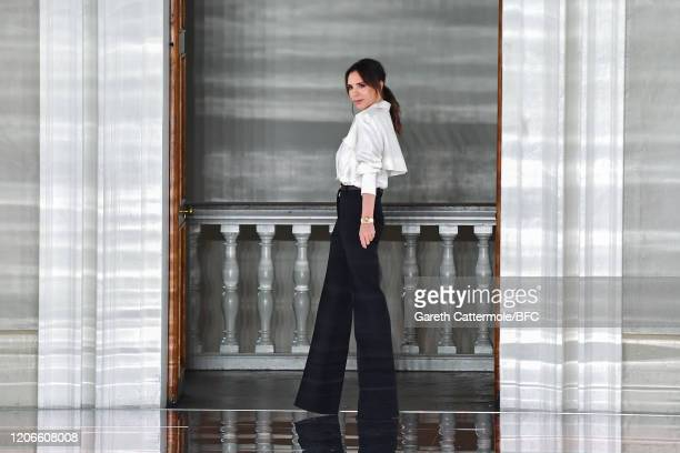 Victoria Beckham walks the runway at the Victoria Beckham show during London Fashion Week February 2020 on February 16, 2020 in London, England.