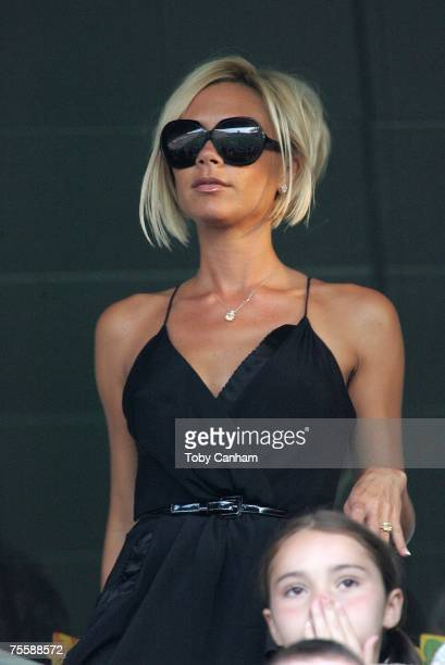 Victoria Beckham watches the LA Galaxy vs Chelsea FC soccer game July 22 2007 at the Home Depot Center in Carson California
