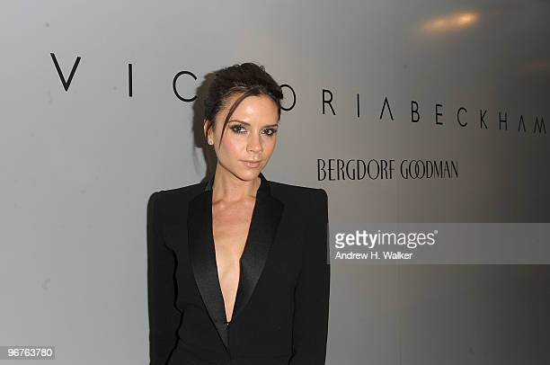 Victoria Beckham wearing 'Victoria Beckham Denim' hosts the Bergdorf Goodman launch of her new collection 'Victoria Beckham Denim' at Bergdorf...