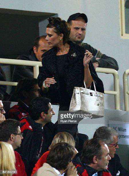 Victoria Beckham wife of David Beckham of AC Milan arrives at the ground during the Dubai Football Challenge match between AC Milan and Hamburger SV...