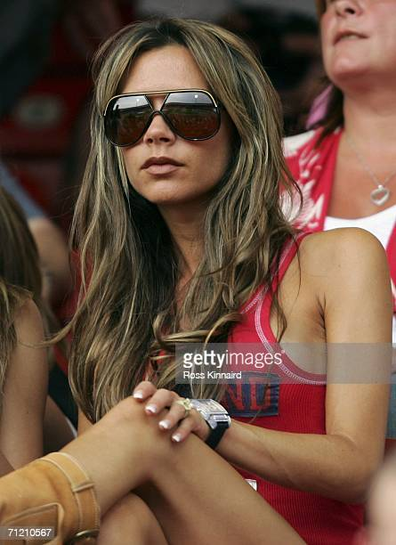 Victoria Beckham wife of England Captain David Beckham attends the FIFA World Cup Germany 2006 Group B match between England and Trinidad and Tobago...
