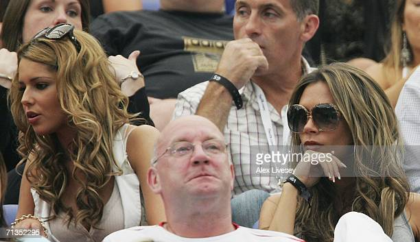 Victoria Beckham wife of England captain David Beckham sits in the stand prior to the FIFA World Cup Germany 2006 Quarterfinal match between England...