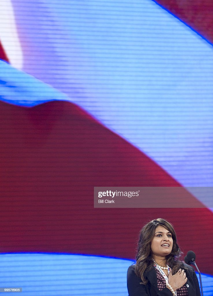 Victoria Blackstone says the Pledge of Allegiance during her sound check on the floor of the Republican National Convention at the Excel Center in St. Paul, Minn., on Monday, Sept. 1, 2008.