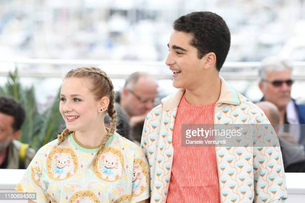 """Victoria Bluck and Idir Ben Addi attend the photocall for """"Young Ahmed """" during the 72nd annual Cannes Film Festival on May 21, 2019 in Cannes,..."""