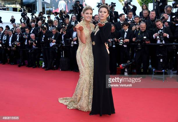 Victoria Bonia and Hofit Golan attend the 'MrTurner' Premiere at the 67th Annual Cannes Film Festival on May 15 2014 in Cannes France