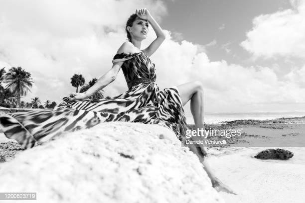 Victoria Bonya poses during the Cana Dorada Film Music Festival on January 20 2020 in Punta Cana Dominican Republic
