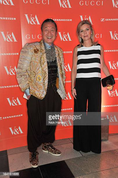Victoria Broackes and Kansai Yamamoto attend the private view of the 'David Bowie Is' exhibition at the Victoria And Albert Museum at Victoria Albert...