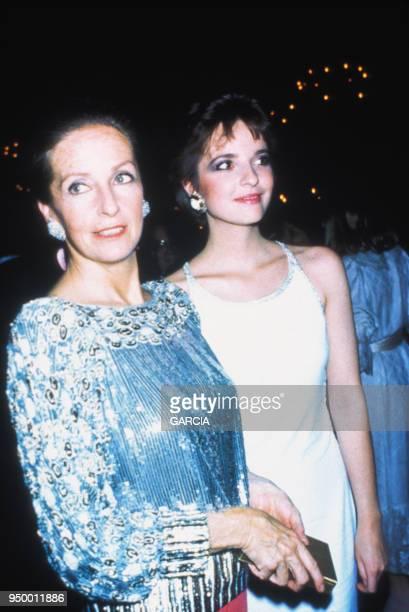 Victoria Brynner et sa mère Doris Kleiner lors d'une soirée circa 1980 à Paris France
