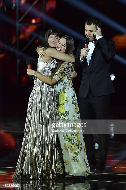 Victoria Cabello Ilaria Rastrelli and Alessandro Cattelan attend X Factor Italia Tv Show on December 11 2014 in Milan Italy
