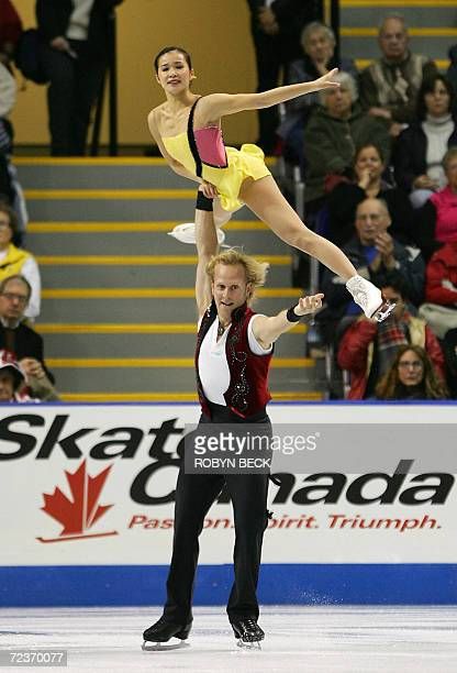 Rena Inoue and John Baldwin of the US perform the Pairs Short Program on Day One of Skate Canada 02 November 2006 in Victoria Canada AFP PHOTO /...