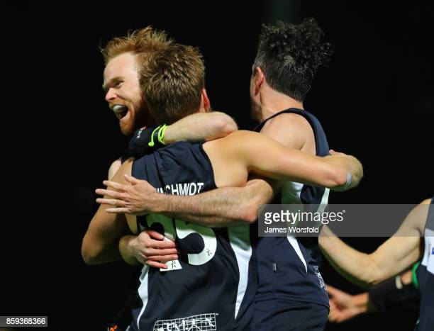 Victoria celebrate their overtime shootout win at the men's 2017 Australian Hockey League gold medal final between Queensland Blades and Victoria...