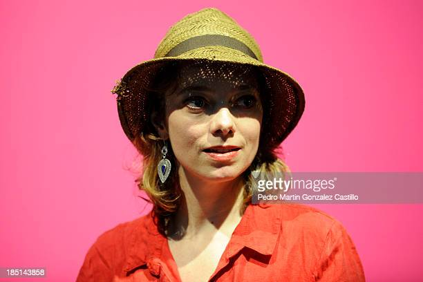 Victoria Chaplin poses at a press conference during the 41º Edition of the International Guanajuato Cervantino Festival at El Meson de San Antonio on...