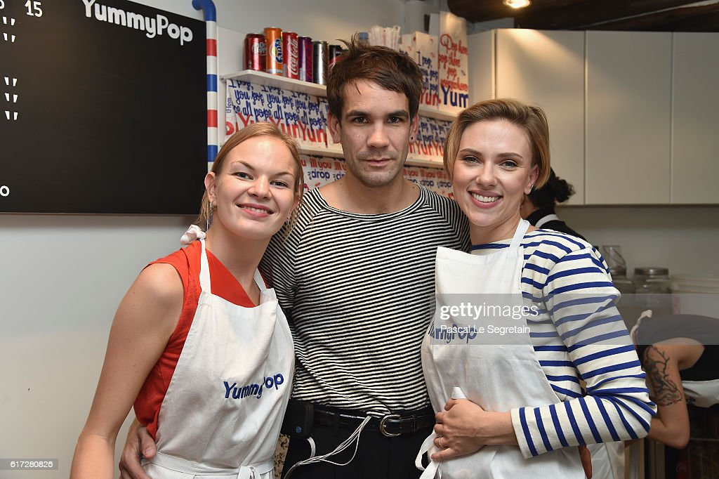 Victoria Chevalier, Romain Dauriac and Scarlett Johansson attend the opening of the Yummy Pop shop where Scarlett Johansson opens the new store Yummy Pop in Le Marais, Paris on October 22, 2016 in Paris, France.