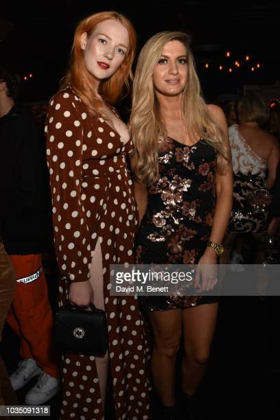 Victoria Clay and Victoria Brown attend the Edeline Lee X Glass Magazine party during London Fashion Week September 2018 at Kadie's Cocktail Bar Club...