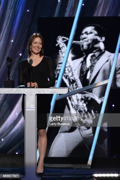 Victoria Clemons widow of Clarence Clemons of the E Street Band speaks onstage at the 29th Annual Rock And Roll Hall Of Fame Induction Ceremony at...