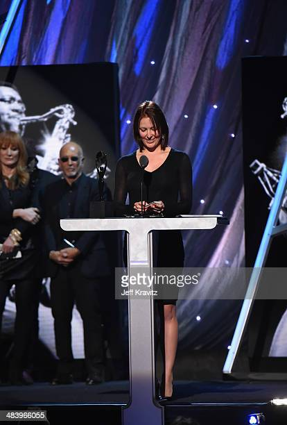 Victoria Clemons widow of inductee Clarence Clemons of the E Street Band speaks onstage at the 29th Annual Rock And Roll Hall Of Fame Induction...